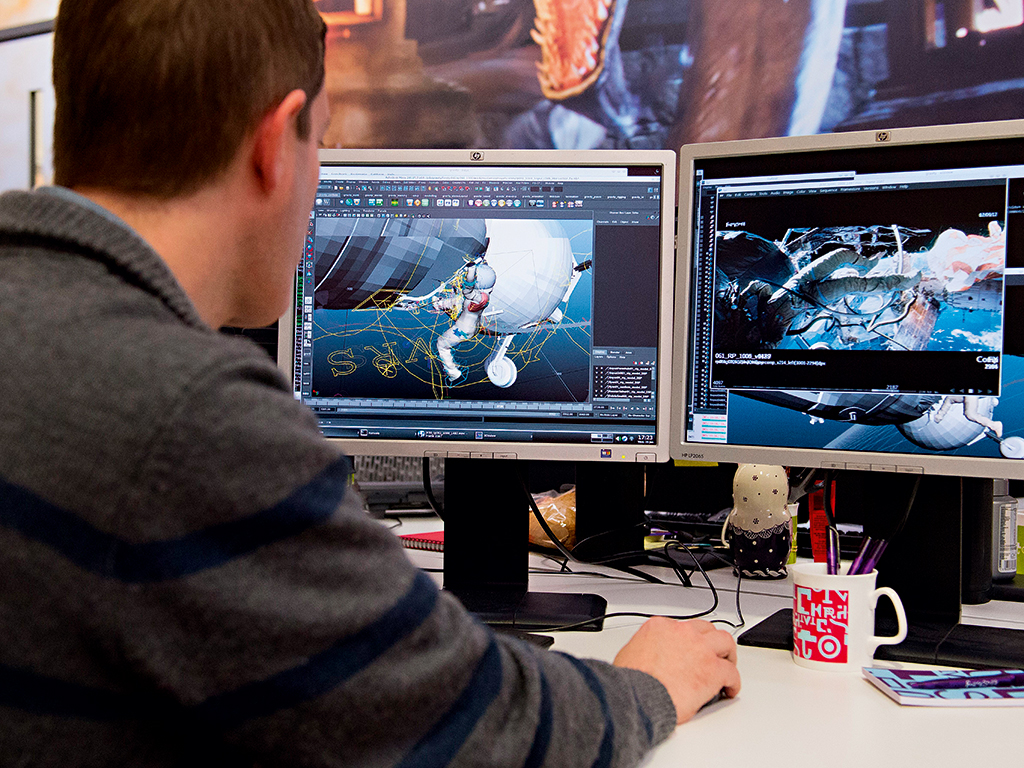 A technician shows some of the design work behind key scenes from the hugely successful film Gravity in the London offices of a leading visual effects company