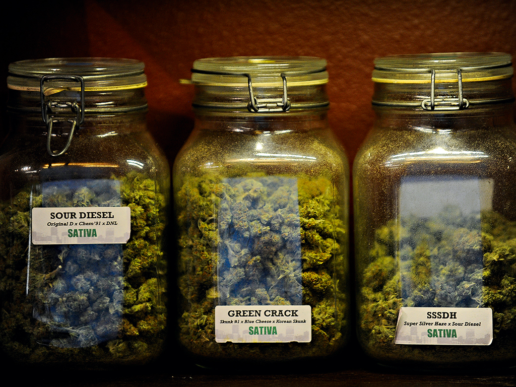 Cannabis on display for recreational use at dispensaries in Colorado