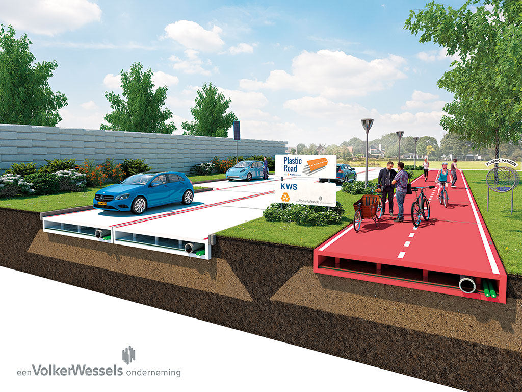 VolkerWessels has an idea to make roads out of plastic bottles. Artist's illustration
