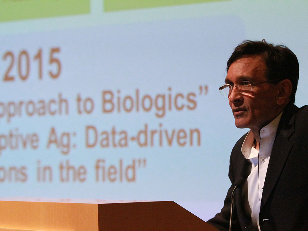 Rohit Shukla on the mainstage, kicking off the 2015 event. Shukla's company, Larta Institute, is one of the organisers of Ag Innovation showcase