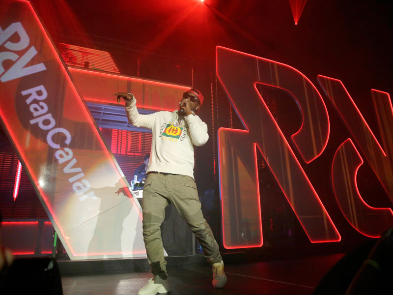 Rapper Gucci Mane performs onstage during Spotify's RapCaviar Live event in Houston