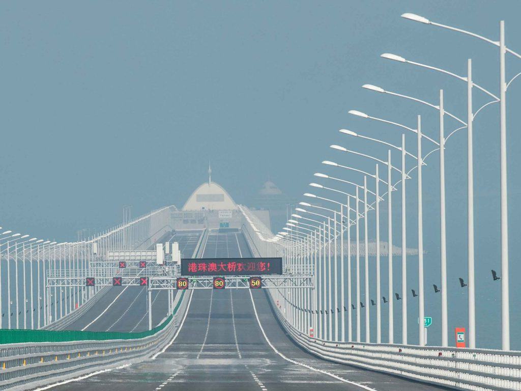 The 55km bridge, which cost $20bn to construct, connects Hong Kong and Macau to the city of Zhuhai in mainland China. It was originally due to open in 2016 but was delayed due to budget and safety issues