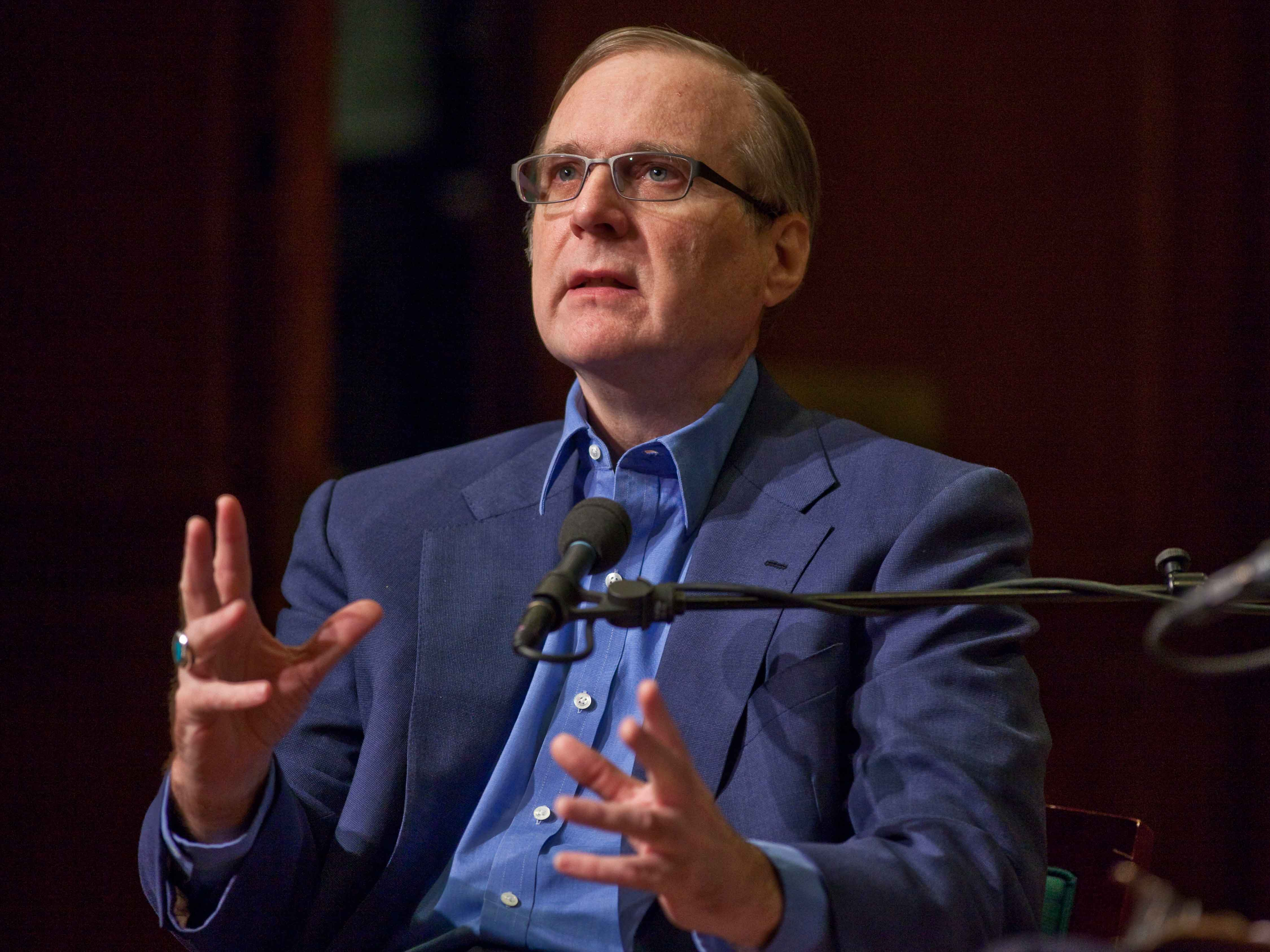 Paul Allen speaks during an event at the 92nd Street Y in New York. Allen co-founded Microsoft alongside Bill Gates in 1971